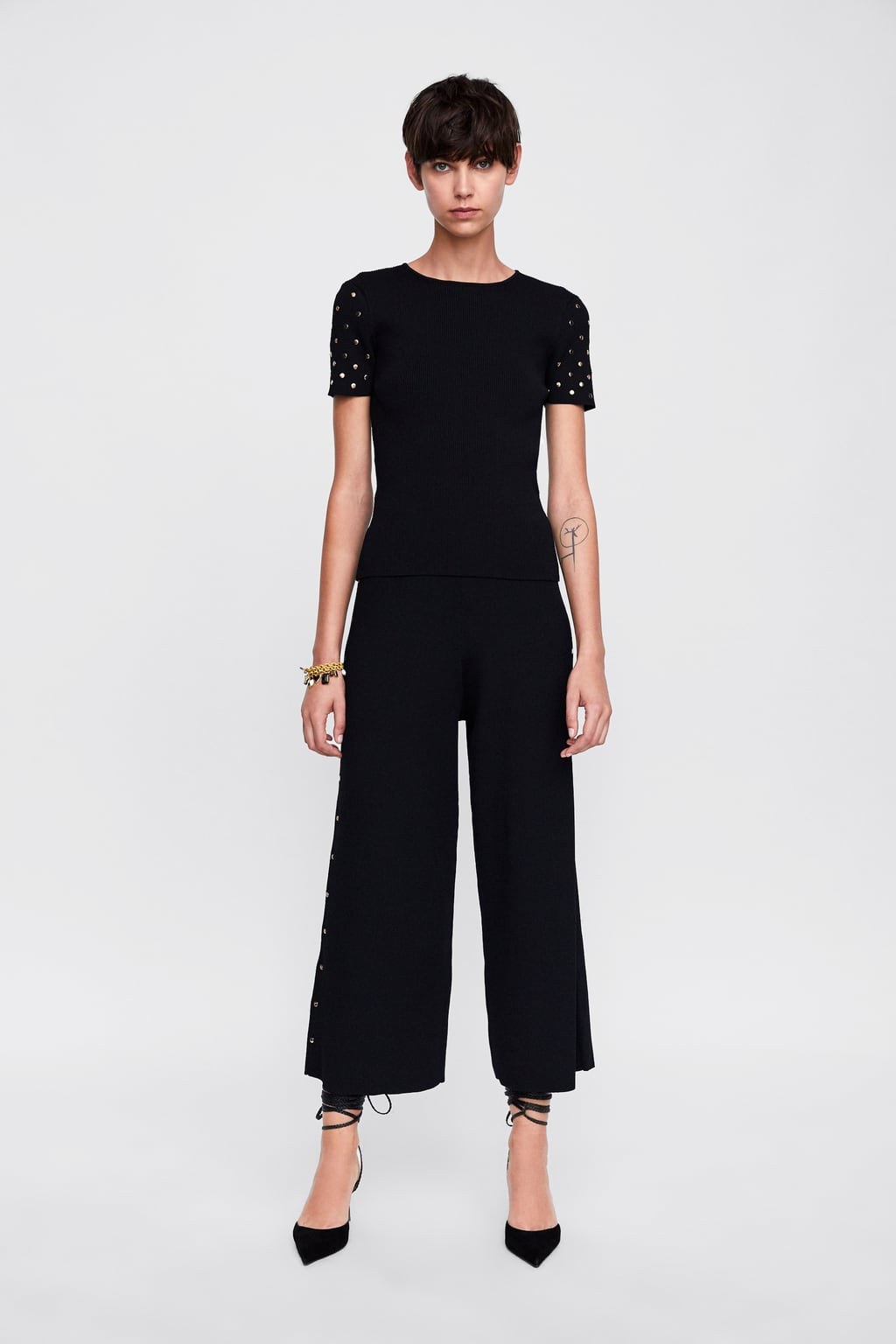 9eb7a3a0 Shoptagr | Ribbed Culottes With Studs Culottes Trousers Woman by Zara