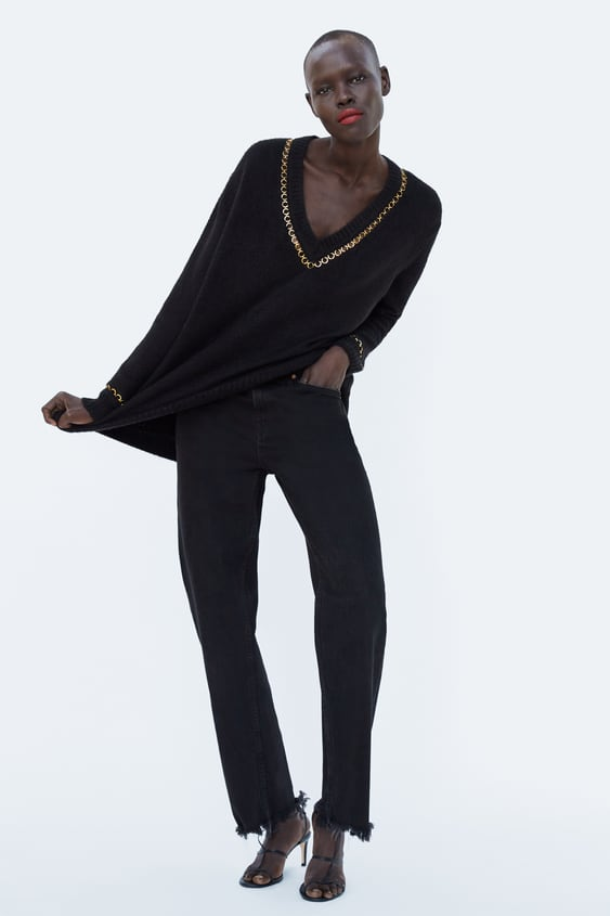 V  Neck Sweater With Chain Trimtrending Now Woman by Zara