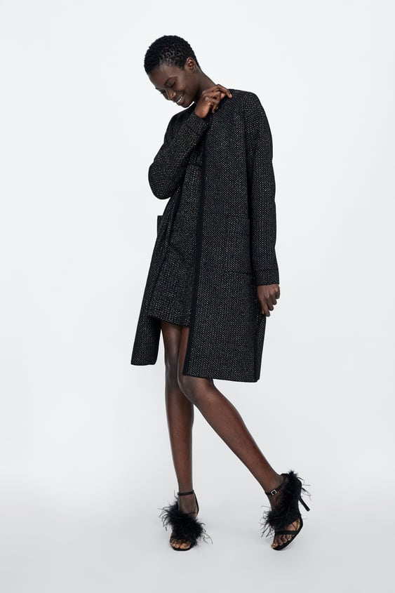 Long Cardigan With Metallic Thread  View All Coats Woman by Zara