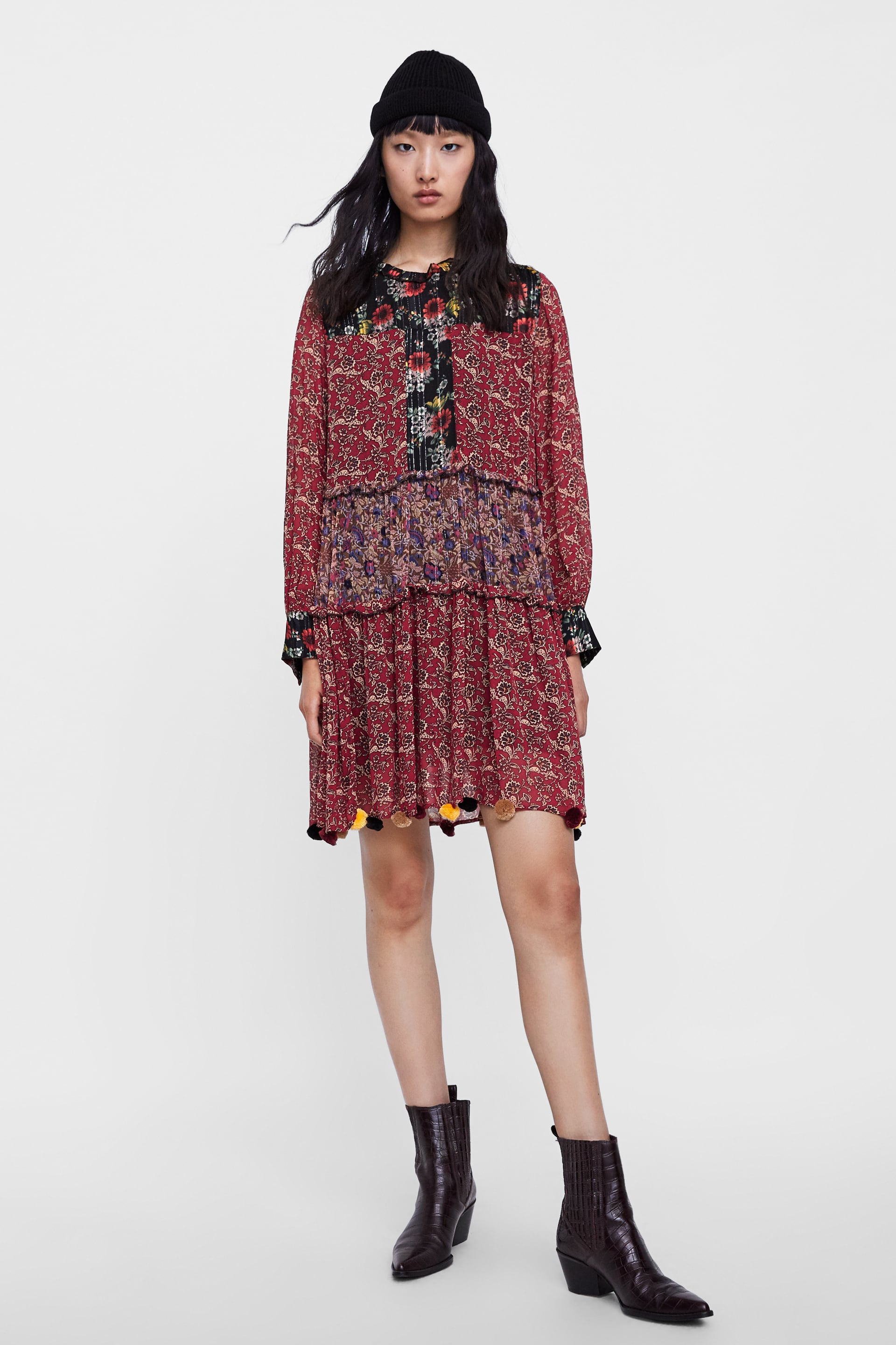 19b9cde6 PATCHWORK PRINT DRESS WITH POMPOMS - View all-DRESSES-WOMAN | ZARA ...