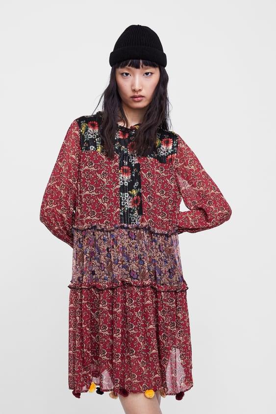 1c63a1a4 PATCHWORK PRINT POMPOM DRESS - DAY-DRESS TIME-WOMAN | ZARA Australia