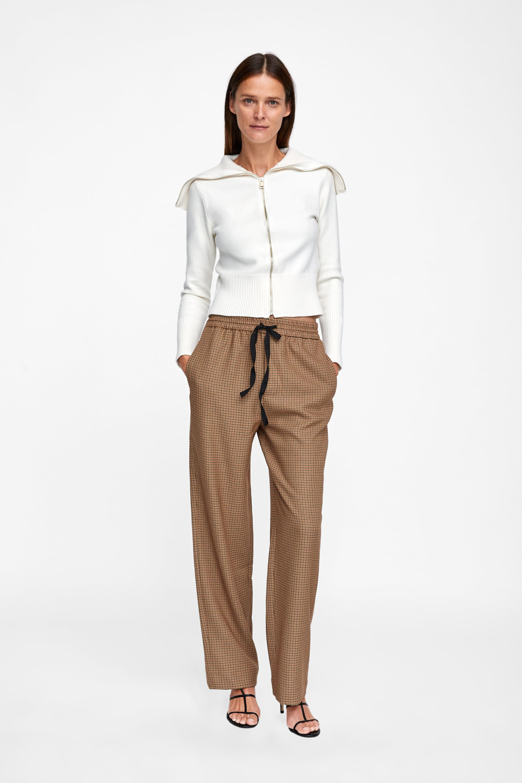 Check Trousers  Palazzo Trousers Woman by Zara