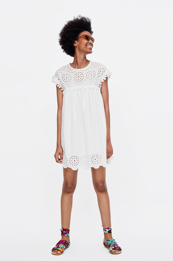 Eyelet Dress With Embroidery And Pompoms View All Zara United States