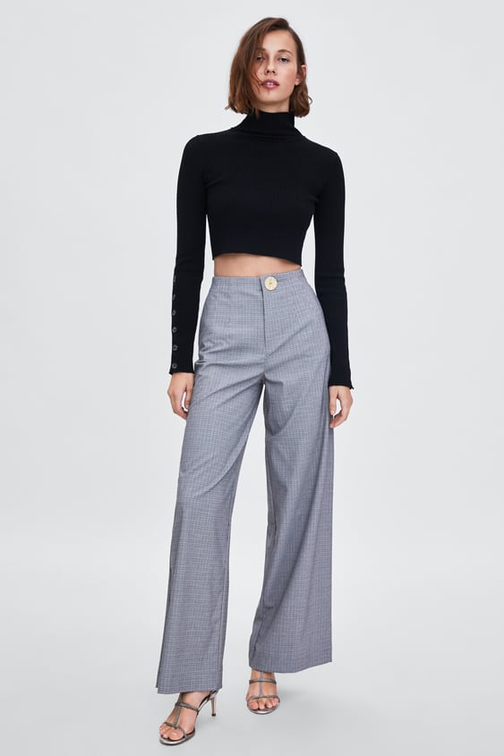 Checked Wide  Leg Trousers Wide Trousers Trf by Zara