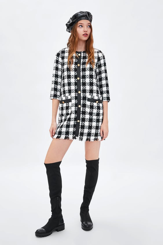 Tweed Dress With Stripe Dresseswoman Sale by Zara