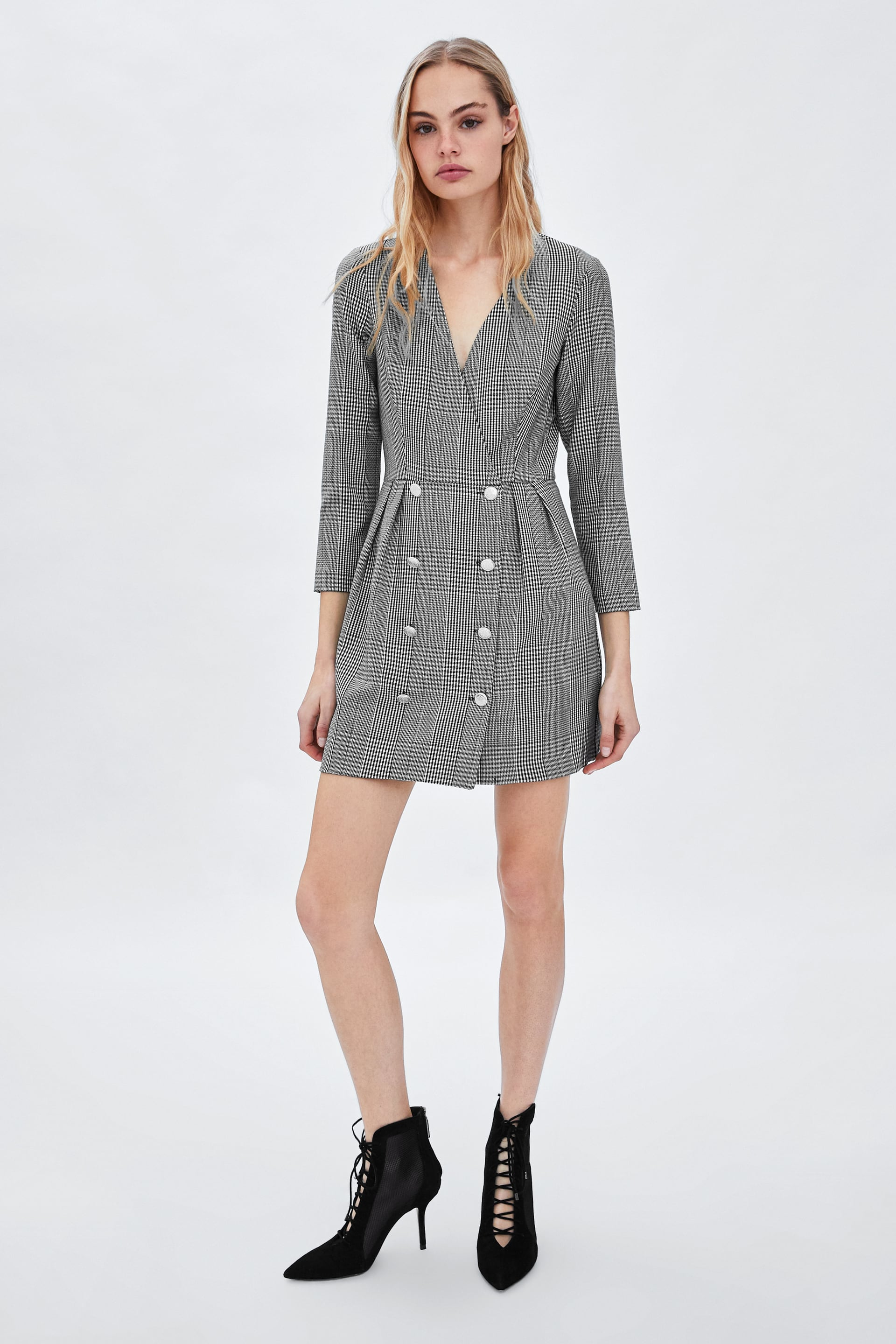 Image 1 of DOUBLE BREASTED PLAID DRESS from Zara