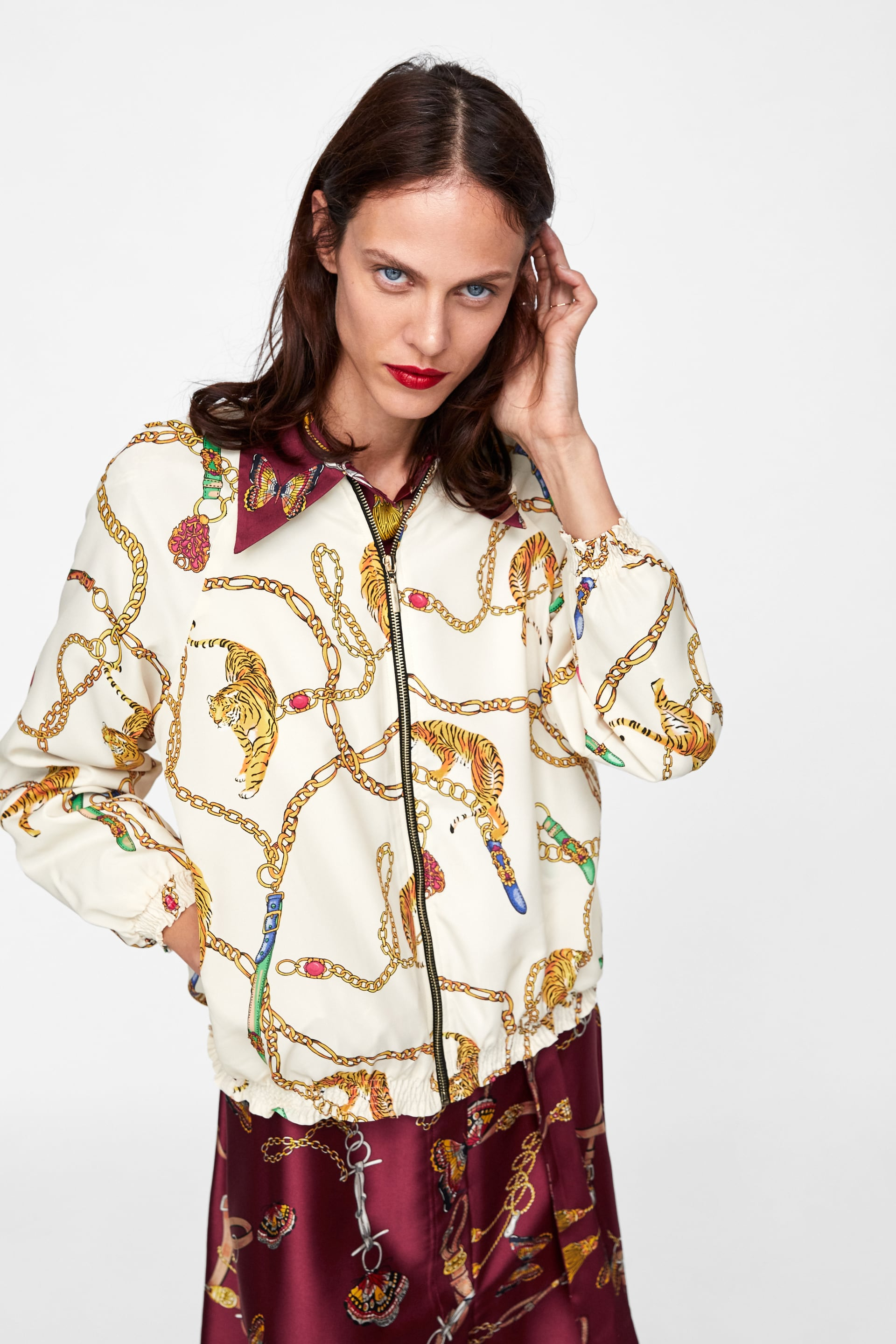 Image 2 of CHAIN PRINT BOMBER from Zara