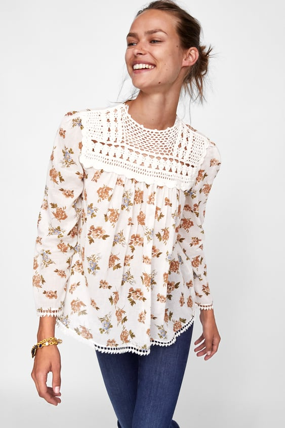 4a023129412 BLOUSE WITH CROCHET BIB - STARTING FROM 70% OFF-SALE-WOMAN