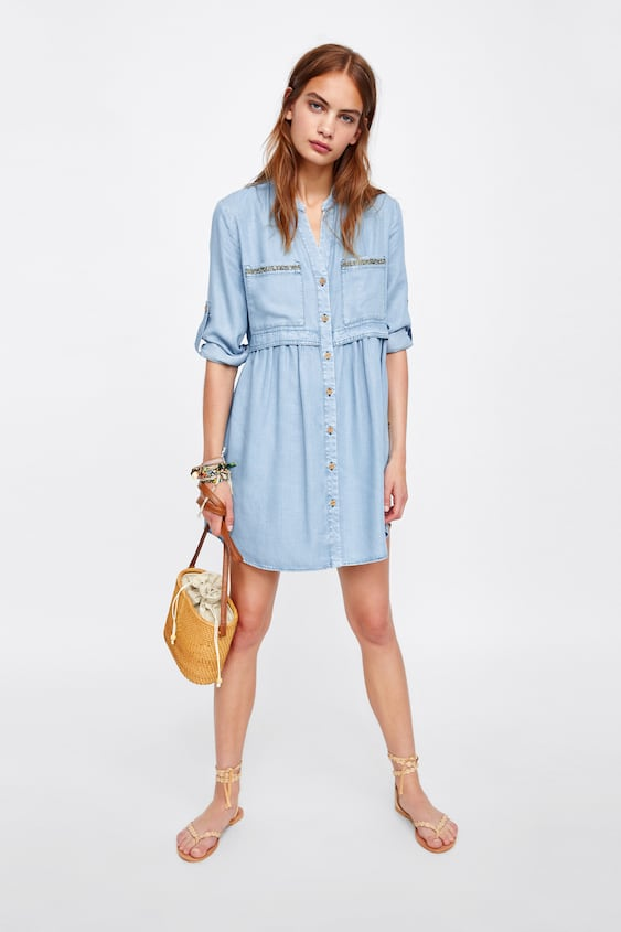 85a72aced8778 ROBE CHEMISE À VERROTERIES - ROBES-SOLDES-FEMME   ZARA France