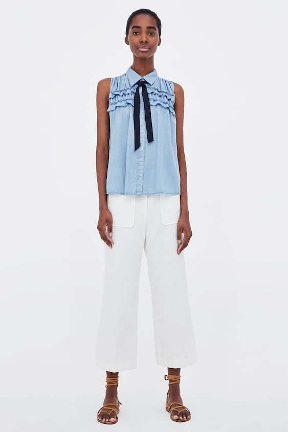 Ruffled Shirt With Bow Topswoman Sale by Zara