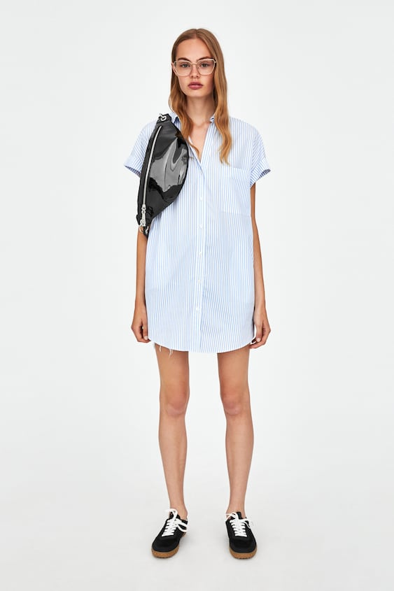 Long Striped Top  Shirt Dress Dresses Woman by Zara