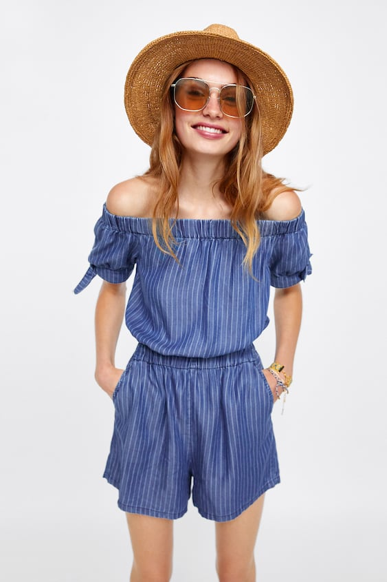 315e4c1d8595 Image 2 of STRIPED JUMPSUIT WITH GATHERED NECKLINE from Zara