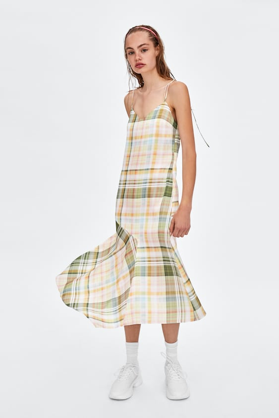 lingerie-style-plaid-dress--mididresses-woman by zara