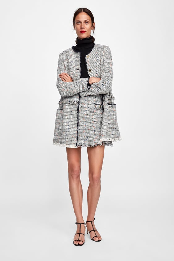 f9160aa6 Shoptagr | Textured Coat With Contrasting Trims View All Coats Woman by Zara
