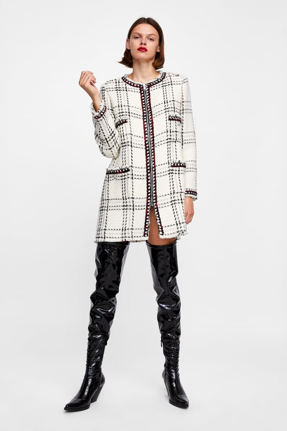 Check Coat With Trims Coatswoman Sale by Zara
