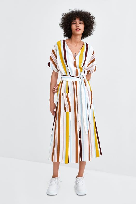 Multicoloured Striped Dress Dresses Jumpsuits Sale Woman Zara