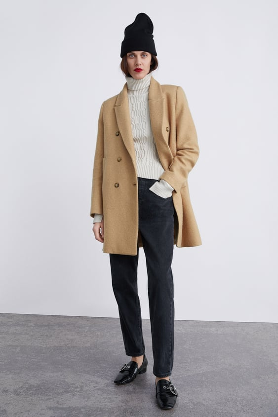 Double Breasted Buttoned Coat View All Coats Woman by Zara