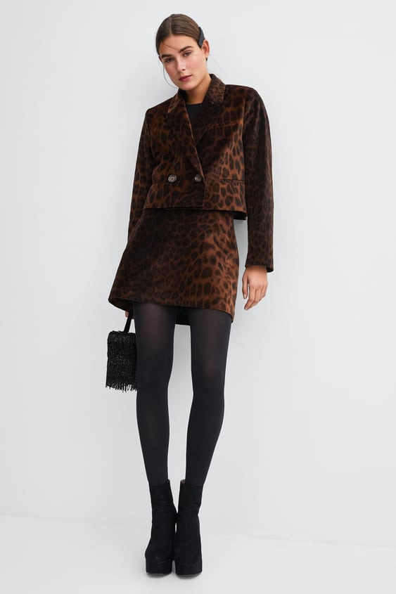 Animal Print Velvet Mini Skirt  Best Sellerswoman by Zara