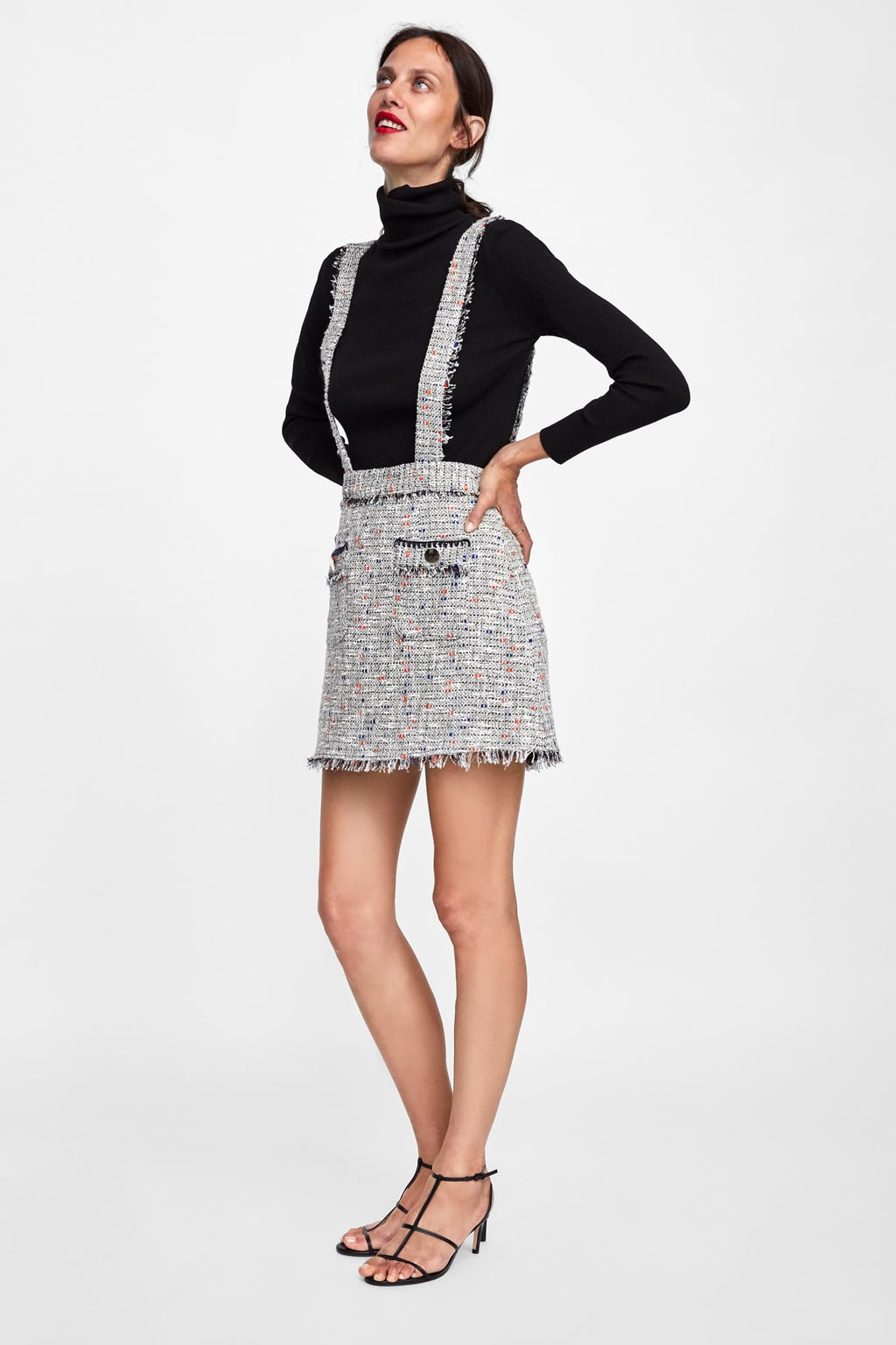 26f04f2d54 Shoptagr | Tweed Mini Skirt With Braces New Inwoman by Zara