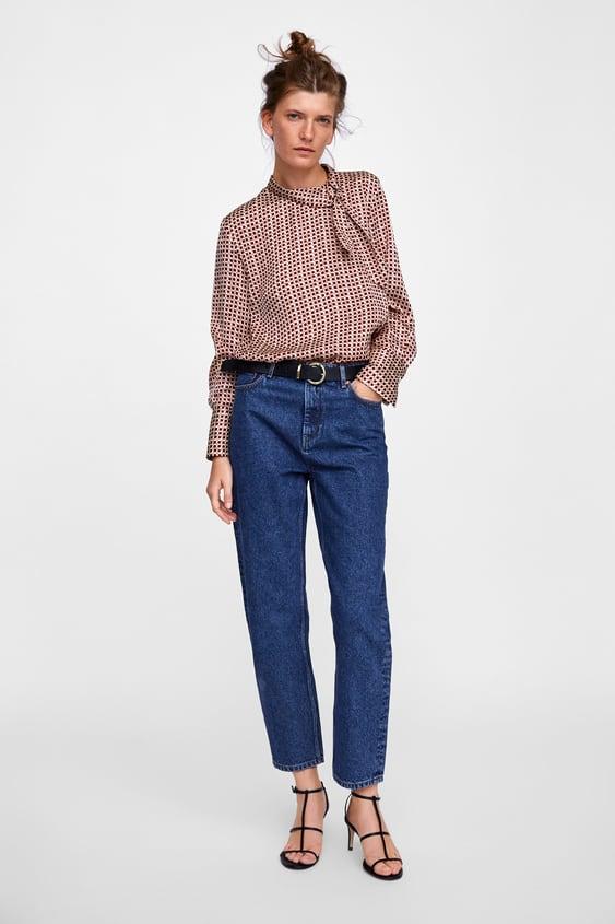 Blouse Imprimee Avec Nœud Chemises Blouses Femme Soldes Zara