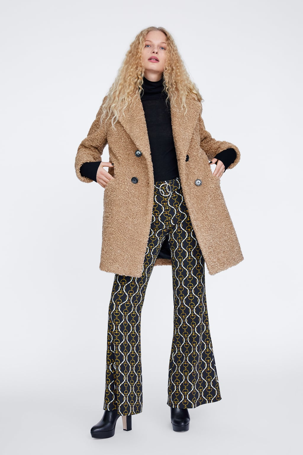 Textured Faux Shearling Coat Camel Coats Woman by Zara