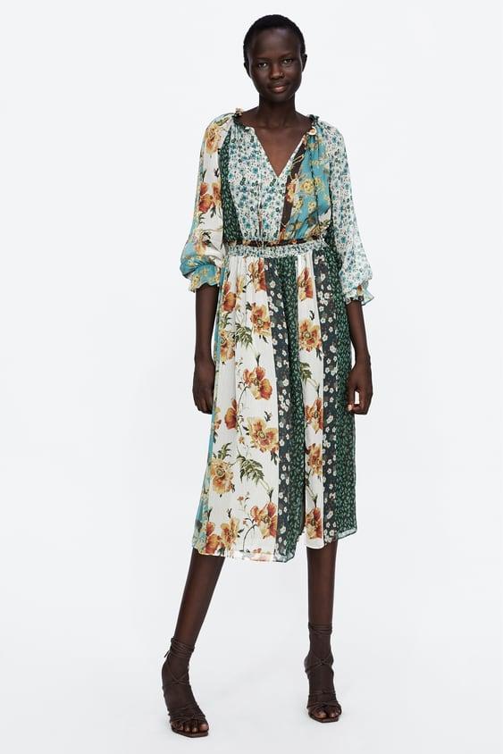 Vestido Estampado Patchwork  Ver Todo Vestidos Mujer by Zara