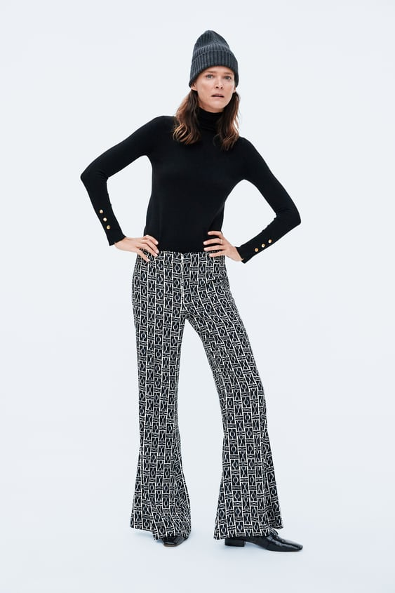 CHAIN PRINT FLARED TROUSERS - Collection-TIMELESS-WOMAN-CORNER SHOPS ... 45fa472aad3a