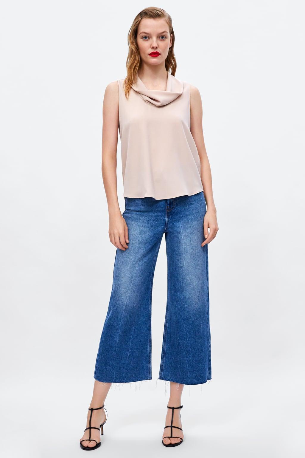 Image 1 of FLOWY NECKLINE TOP from Zara