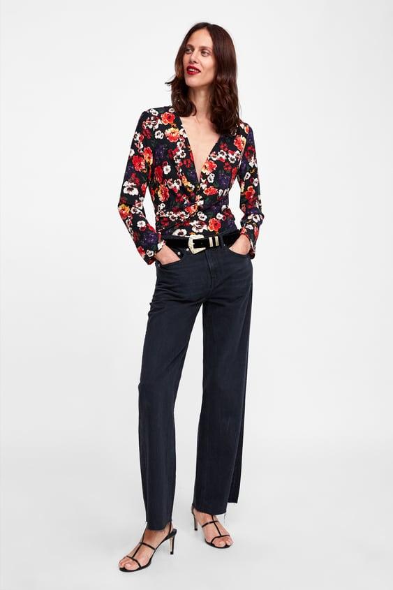 4d07a531 Shoptagr   Floral Print Bodysuit Collectionsale Woman by Zara