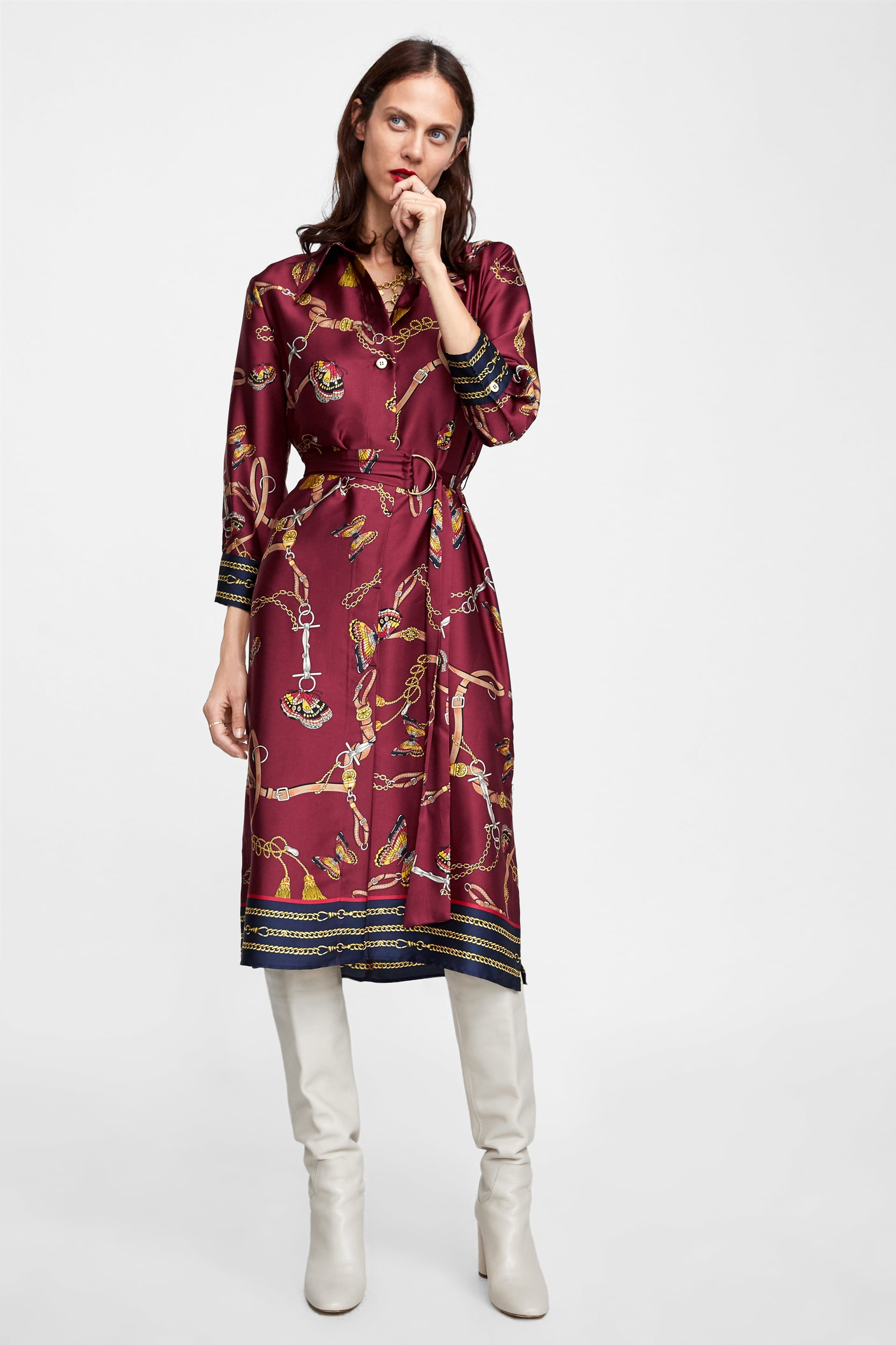 Image 1 of CHAIN PRINTED SHIRT DRESS from Zara