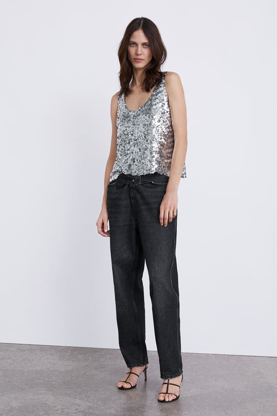 Top With Sequins  View All Knitwear Woman by Zara