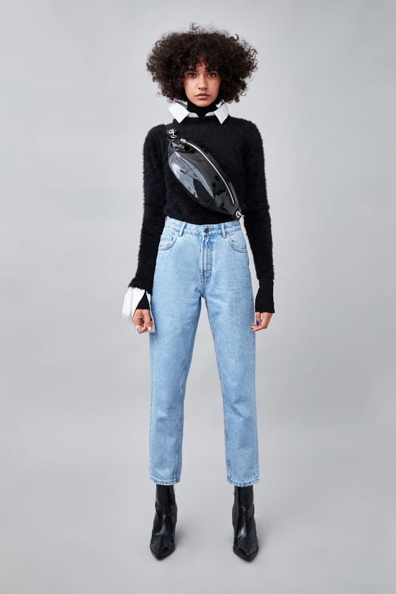 Klasyczne Spodnie Jeansowe Z Wysokim Stanem W Stylu Mom Fit Authentic Denim Concepts Jeansy Trf WyprzedaŻ by Zara