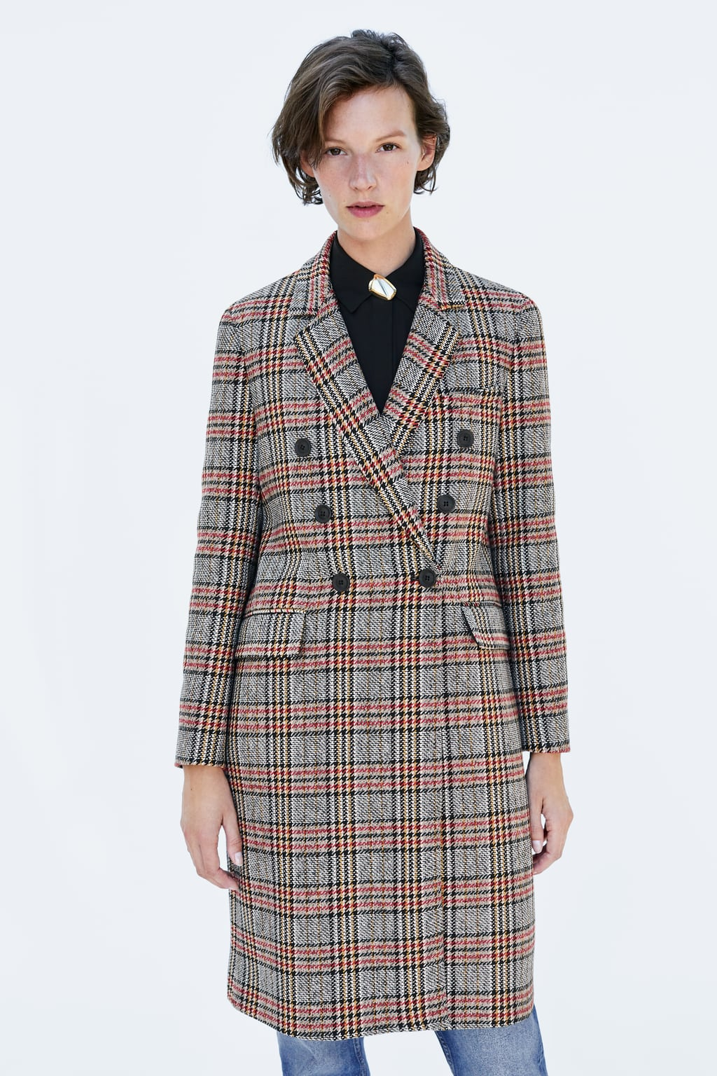 Image 2 of DOUBLE-BREASTED PLAID COAT from Zara