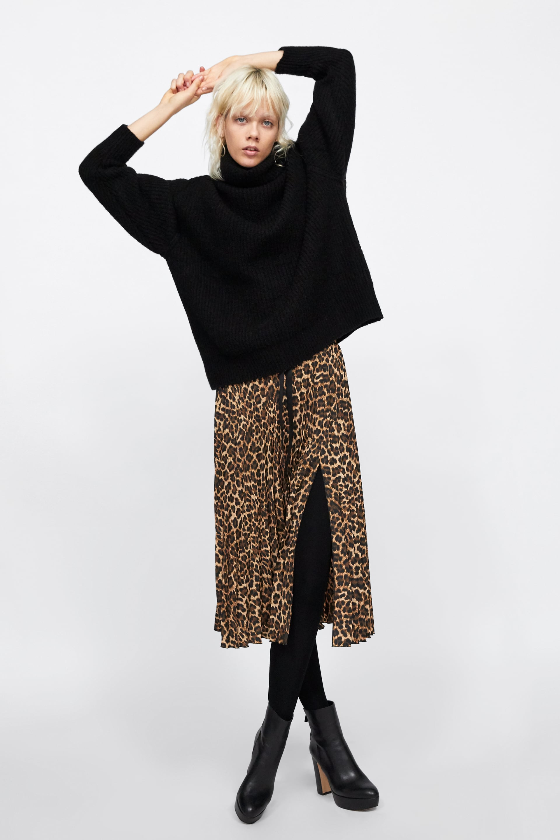 promo code durable in use best authentic Shoptagr | Pleated Animal Print Skirt Collection by Zara