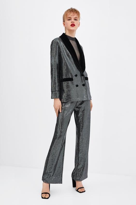 Sparkly Tuxedo Blazer View All Bottoms Trf Sale Zara United States