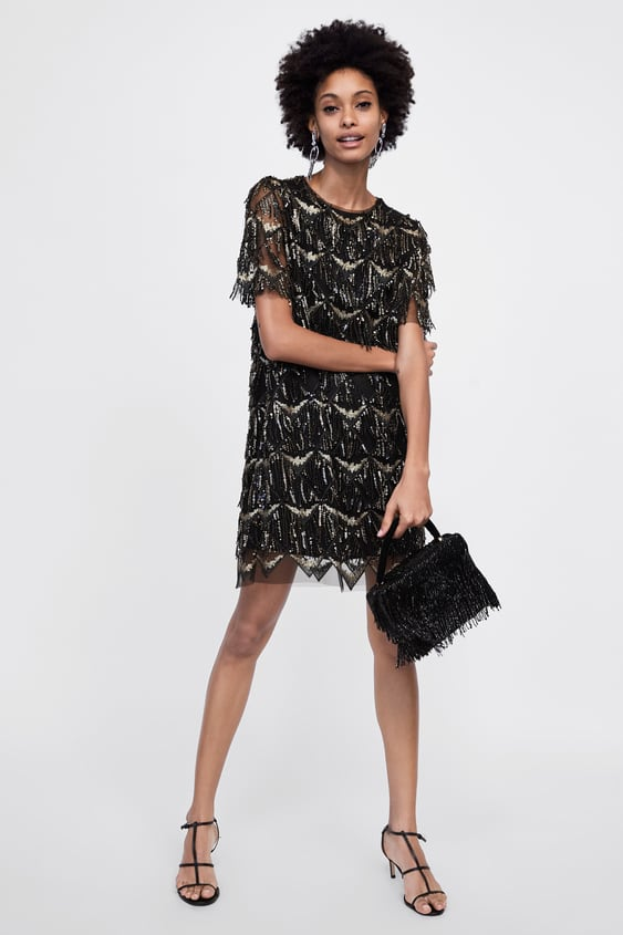 0582157203 fringed-sequin-dress--mini by zara