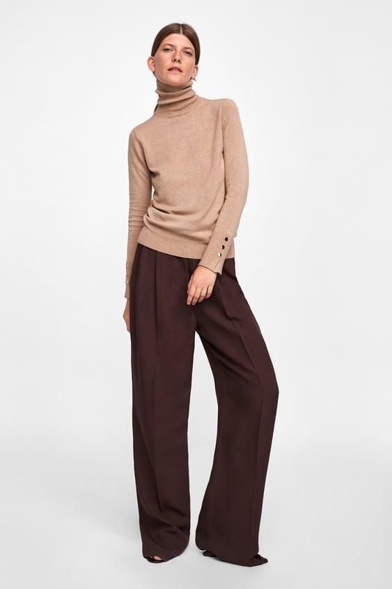 Jersey BÁsico Cuello Subido  Cuello Alto Punto Mujer by Zara