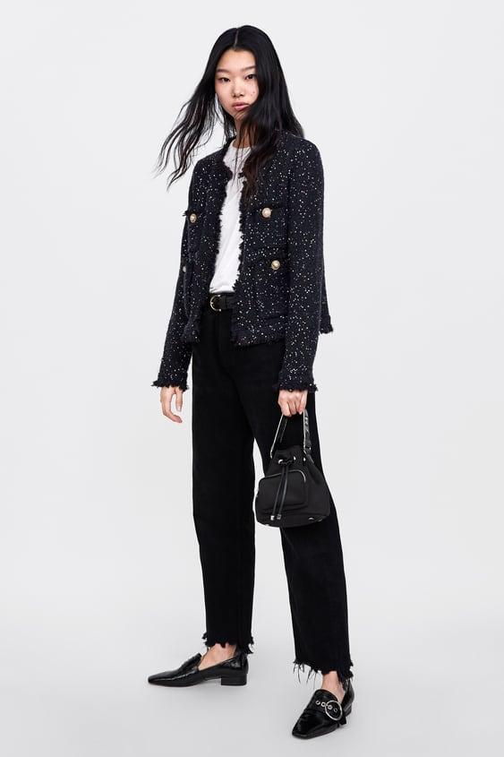 Sequinned Tweed Jacket  Cardigans Knitwear Woman by Zara