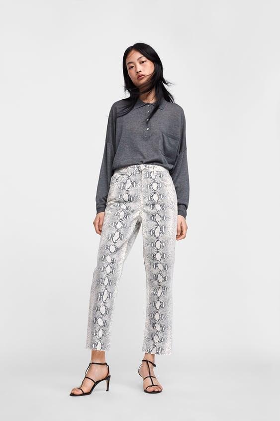 Jean Zw Premium Cropped Snake Print  Regular Fit Par Coupe Jeans Femme Soldes by Zara