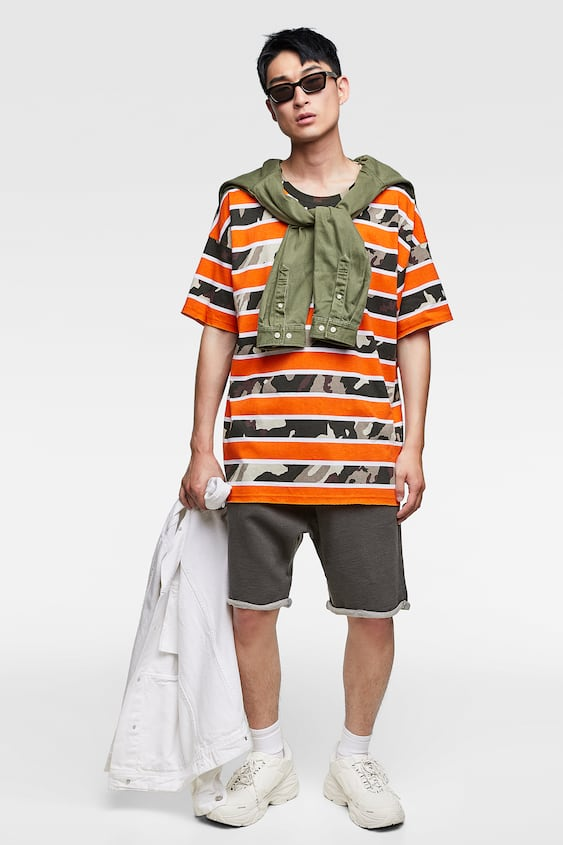 Oversized Contrast T  Shirt View All T Shirts Man by Zara