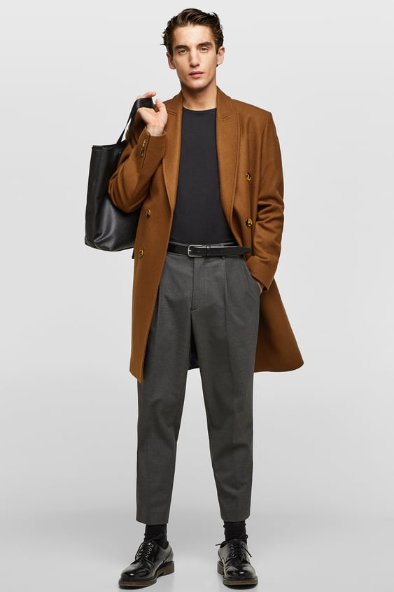 Double  Breasted Wool Coat Coats by Zara