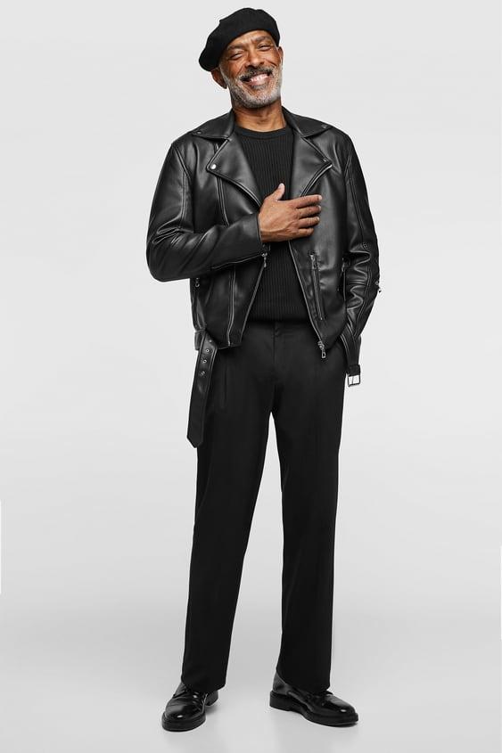 Biker Jacket In Leather  Imitation Leather Jacks Men by Zara