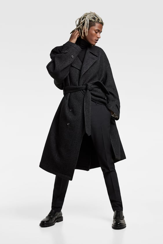 Double  Breasted Belted Coat Coats Outerwear Man by Zara