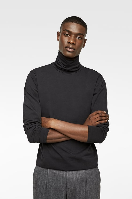 62081c8d Shoptagr | Turtleneck T Shirt Plain T Shirts Man by Zara