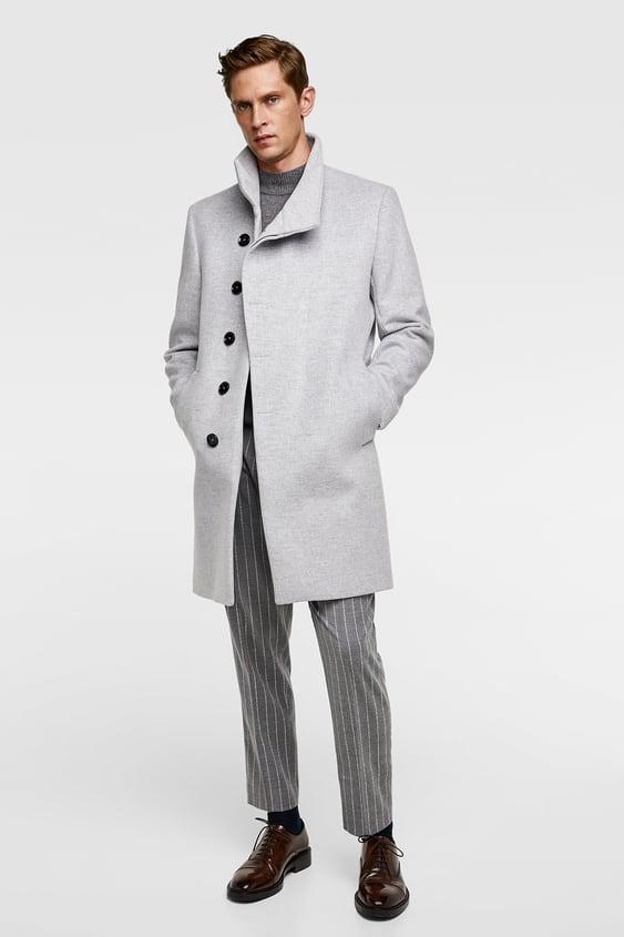 Asymmetrical Collar Coat View All Outerwear Man by Zara