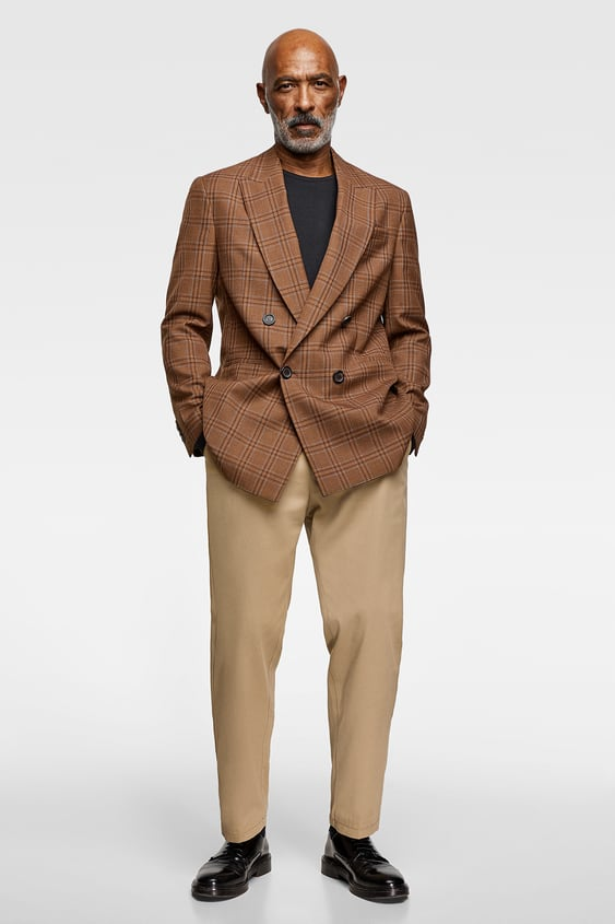 Check Double  Breasted Blazer Collection All Time Man Corner Shops by Zara