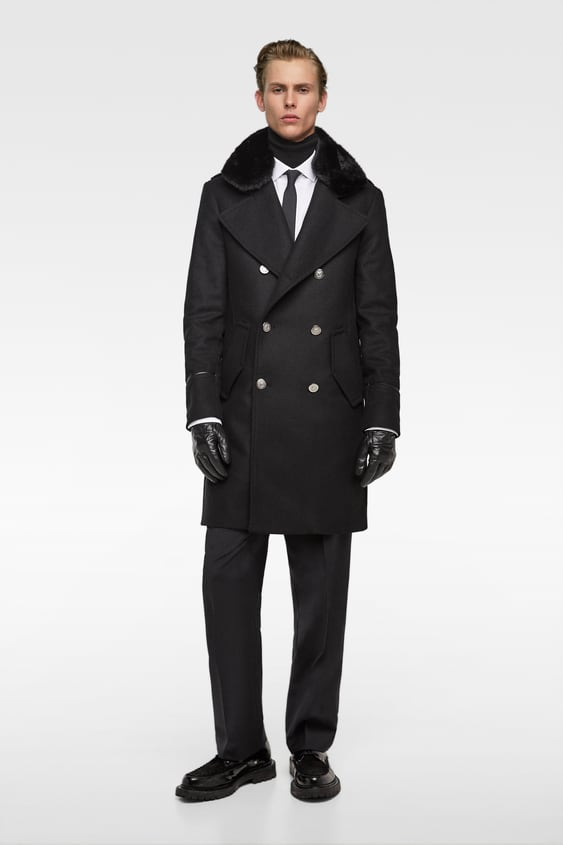 Coat With Contrasting Collar  View All Outerwear Man by Zara