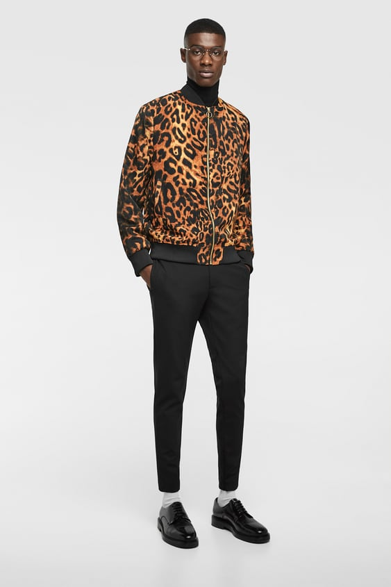 Leopard Print Bomber  View All Jackets Man by Zara
