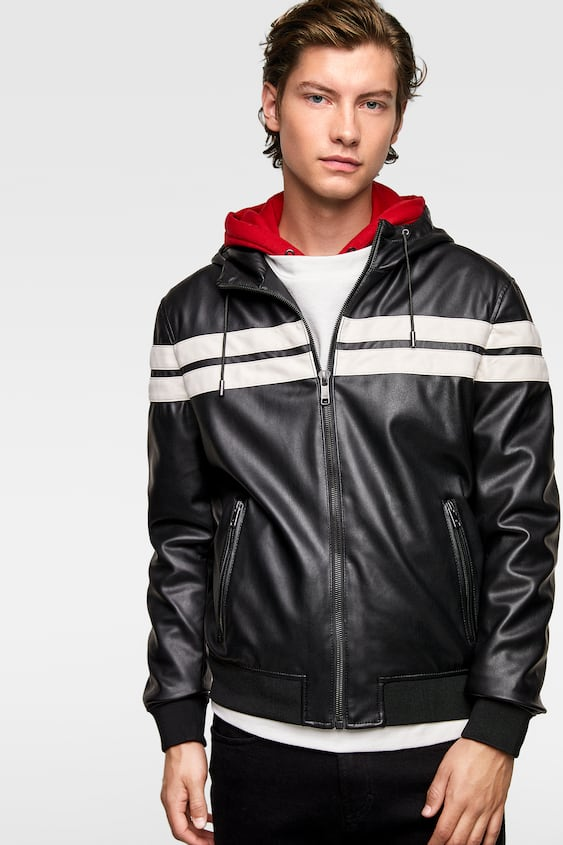 2878747dd FAUX LEATHER JACKET WITH STRIPE DETAIL - Hooded-JACKETS-MAN