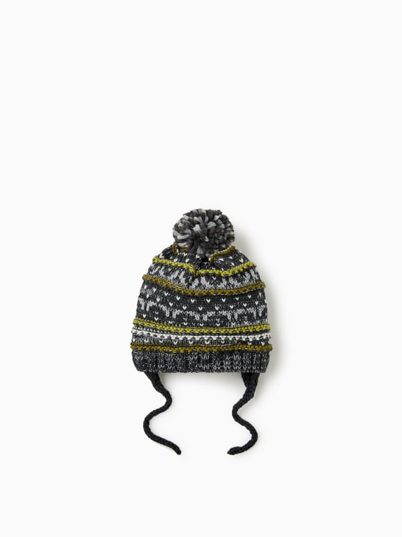 JACQUARD PATTERN KNITTED HAT - Hats, Scarves and Gloves-ACCESSORIES ...